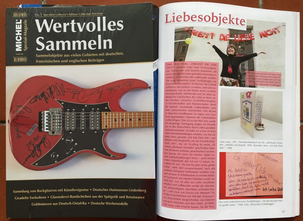 """Luise Loué: Sammlung der Liebesobjekte, in: MICHEL Spezial-Magazin """"Wertvolles Sammeln"""", no. 5 2016, S. 57 ff."""