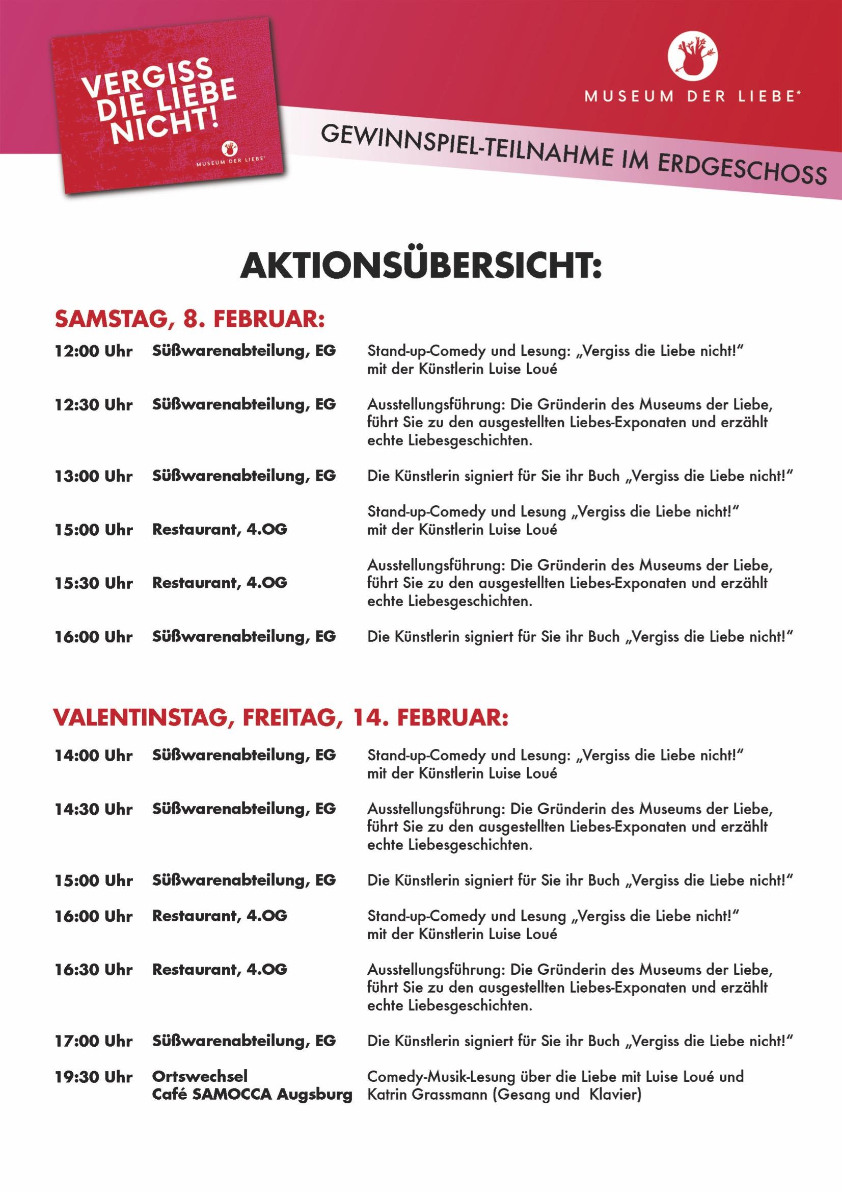 Ausstellung Museum der Liebe Galeria Karstadt Augsburg Programm 2