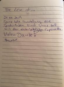 Ausstellung Museum der Liebe Gästebucheintrag